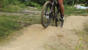 BMX bicycle unsuccessful attempt to ride the track, failed racer. Stock footage stock video footage
