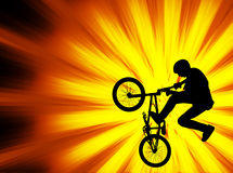 Bmx bicyclist on the abstract background Stock Photo