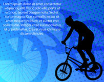 Bmx bicyclist on the abstract background Stock Images