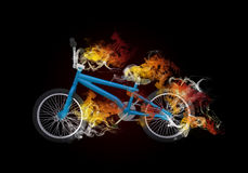 BMX bike in the colored smoke Royalty Free Stock Photography