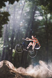 Bmx bike rider in the forest Royalty Free Stock Images