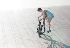 Bmx bike rider on the highlights Royalty Free Stock Images