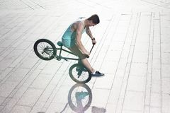 Bmx bike rider on the highlights Royalty Free Stock Image