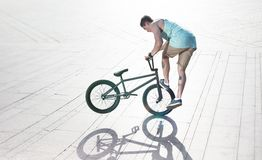 Bmx bike rider on the highlights Stock Images