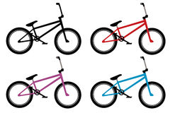 Bmx bike set. In black, red, blue and violet color Stock Image