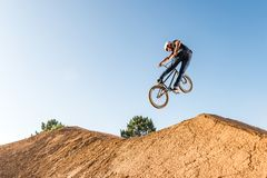 BMX Bike Stunt look back Royalty Free Stock Photo