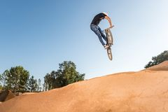 BMX Bike Stunt look back Royalty Free Stock Photography