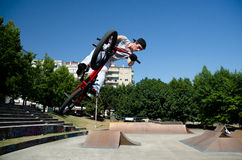 BMX Bike Stunt Table Top Stock Images