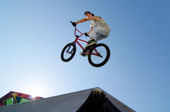 BMX Bike Stunt Table Top Stock Image