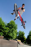 BMX Bike Stunt tail whip Royalty Free Stock Image
