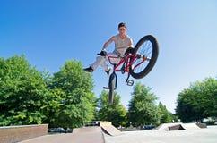 BMX Bike Stunt tail whip Royalty Free Stock Image