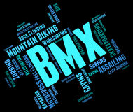 Bmx Bike Words Shows Text Cyclist And Bicycle Royalty Free Stock Photos