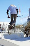 BMX bike. A young guy is riding his bmx bike Royalty Free Stock Photos