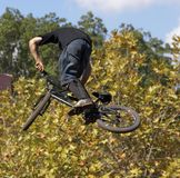 BMX Biker. Airborne Royalty Free Stock Photo
