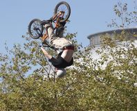 BMX Biker. Airborne BMX Biker Royalty Free Stock Photo
