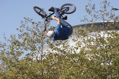 BMX Biker. Airborne Royalty Free Stock Photos
