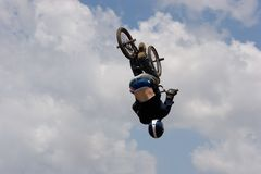 BMX biker Airborne Stock Photo