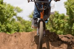BMX Biker landing Stock Photos