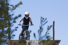 BMX biker ready to jump Royalty Free Stock Image