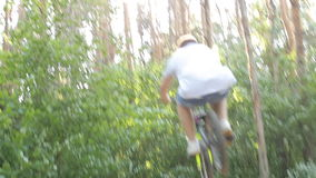 Bmx biker riding in forest stock video footage
