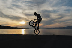 Bmx biker silhouette doing tricks against the sunset. Royalty Free Stock Photography