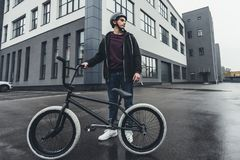 Bmx biker on street Stock Images