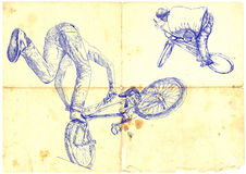 BMX bikers. Extreme tricks on the BMX bike, hand drawing - vintage processing Royalty Free Stock Image