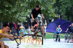 BMX bikers show  in city park Royalty Free Stock Photos
