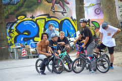 BMX bikers in skate park Stock Images