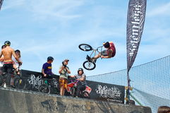 BMX competition at Relentless Boardmasters event. Newquay, Cornwall, UK - 8 August 2010: BMX event at the Relentless Boardmasters competition Stock Image