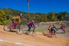 BMX Cycle Race Girls Corner Royalty Free Stock Photography