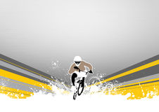 BMX cyclist. Abstract grunge BMX cyclist sport background with space Stock Photo