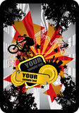 BMX cyclist. Vector of BMX cyclist with modern background Royalty Free Stock Images