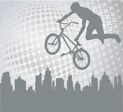Bmx cyclist on the abstract background Stock Photo