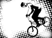 Bmx cyclist on the abstract halftone background Royalty Free Stock Photo
