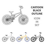 BMX Cyclist Bicyclist Athletes Sportsman. Bike for jumps and athletes.Different Bicycle single icon in cartoon style Stock Images