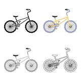 BMX Cyclist Bicyclist Athletes Sportsman. Bike for jumps and athletes.Different Bicycle single icon in cartoon style Royalty Free Stock Photography