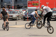 BMX cyclists preparing for competitions Royalty Free Stock Photography