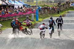 BMX elite cycle crash Stock Photo