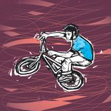 Bmx extreme rider. Vector drawing of a man riding a bike (traced and edited hand-drawn sketch) (AI8 included Royalty Free Stock Photos