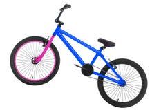 BMX-fiets die op wit wordt geïsoleerd stock afbeeldingen