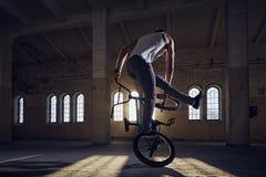 BMX-jippon i en solstråle inomhus royaltyfri fotografi