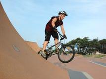 BMX jump. Child jumping his BMX bike Stock Photo