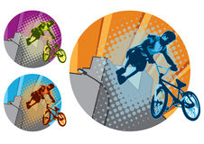BMX Jump. Urban scene, showing a BMX rider performing a big air jump. CMYK vector illustration with global colors. Three color options Royalty Free Stock Photos