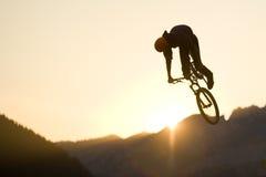 Bmx Jumping Sunset Mountain Stock Images