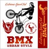BMX koszulki grafika Krańcowy rower ulicy styl - Wektorowy BMX cyclyst Zdjęcie Stock