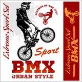 BMX koszulki grafika Krańcowy rower ulicy styl - Wektorowy BMX cyclyst Fotografia Stock