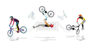BMX park set. Silhouettes of people on bmx with helmet on white background Stock Images