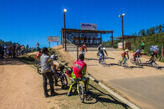 BMX Race Start Riders Stock Images