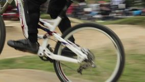 BMX racer falls before finish line, failed to complete race. Stock footage stock video footage